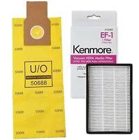 12 Kenmore U/O Allergen Bags 50688 + 1 Sears Kenmore EF-1 Filter 20-53295 86889