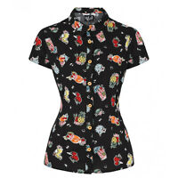 Hell Bunny Pina Colada Kitsch Tropical Retro Vintage Work Career Blouse Top