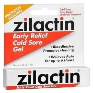 ZILACTIN COLD SORE GEL .25 OZ canker sores mouth sores  X  2