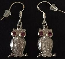 Stunning Silver Crystal Gem Set Bird Hoot Owl Animal Dangle Drop Earrings