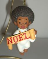 "Thomas Blackshear EBONY VISIONS GLAD TIDINGS Angel Ornament NEW ""NOEL"""