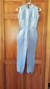 Vtg 50's Silver Lamé Metallic Pinup Bad Girl Catsuit Dress Jumpsuit XXS/XS VLV