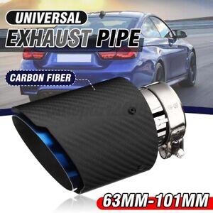 63mm-101mm Matte Black Blue Carbon Fiber Rear Exhaust Tips Pipe Universal Car