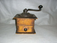 Antique Primitive Cast Iron Top Crank Coffee Grinder Cabinet w/Box Joints Drawer