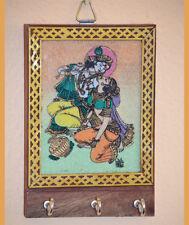 Gemstone Radha Krishna Painting Wood Key Wall Holder with Three Hooks from India