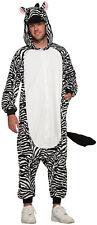 Zebra Adult Pajama Animal Halloween Zip Up Costume-Std