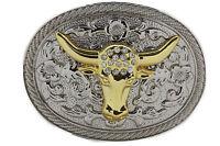 New Men Big Belt Buckle Western Cowboy Bull Long Texas Horn Cow Silver Gold Bead