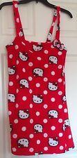 Hello Kitty bathrobe, red w/white dots and HK faces, Velcro closure, M, EUC