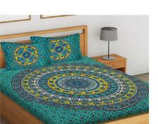 Elephant Mandala Cotton Double King Size Jaipuri  With 2 Pillow Covers Green