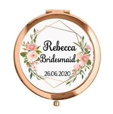 Personalised Rose Gold Compact Mirror Bridesmaid Maid mother groom wedding gift