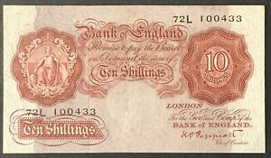 Bank of England. Ten Shillings. B262. K.O. Peppiatt. 1948. 72L 100433. (HV34)
