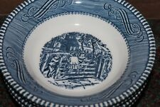 """4 Royal China Currier and Ives 5 1/2"""" Berry Bowl """"The Old Farm Gate"""""""