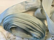 "Vintage Silk Rayon 1"" Ribbon 1920s Antique Spa Green 1yd Made in France"