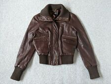 Oasis Ladies Brown Super Soft Leather Bomber Jacket - Size S