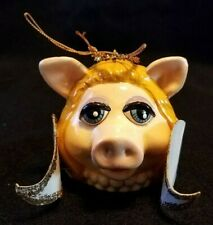Vintage 1989 Henson Assoc Miss Piggy Ceramic Head Ornament With Wings