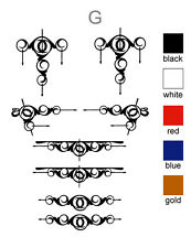 "Scroll decorative swirl sticker set of 8 Truck & Horse Float ute vinyl NEW ""G"""