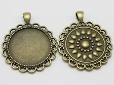 5 Antique Bronze Round Pendant Cameo Cabochon Setting Blank Findings Inner:30mm