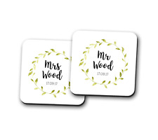 Mr and Mrs PERSONALISED name Pair Coaster Place Mat Couple Gift Square 9cm x 9cm