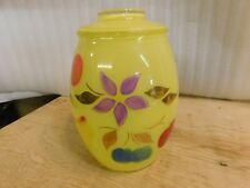 Vintage Bartlett Collins Gay Fad Hand Painted Yellow Glass Cookie Jar Caniste