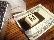 """"""" M """" MONOGRAM INITIAL faux Ivory Stainless Steel-Metal Money Clip wGift Box"""