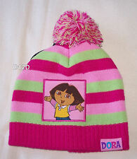 Dora The Explorer Girls Pink Green Stripe Beanie Size 1 - 3 New