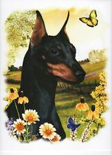 """Miniature Pinscher (Min Pin)Dog with Flowers.One 18x22""""Fabric Panel to sew.Sale!"""