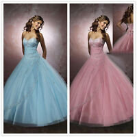 Stock A-Line Wedding Evening Bridal Gowns Prom Ball Dress Size 6 8 10 12 14 16
