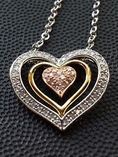 BRAND NEW 0.25 CT.T.W. Diamond Sterling Silver Tri Color Heart Pendant