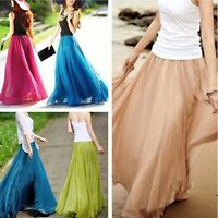 New Women Elegant Chiffon Elastic Waist Band Pleated Beach Long Maxi Skirt Dress