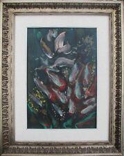 GIANDANTE X (Pescò Milano 1899-1984) FIORI encausto su cartone anni'60 + CORNICE