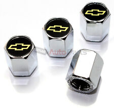 4 Chevrolet Yellow Bowtie Logo Chrome ABS Tire/Wheel Stem Air Valve CAPS Covers