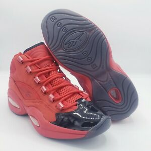 REEBOK QUESTION MID HEART OVER HYPE SZ 7 RED BLACK PATENT ALLEN IVERSON FW5304