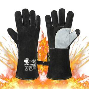 🔥 Black Welders Gauntlets ,Extreme Heat Resistant  BBQ TIG MIG Welding Glove 🔥