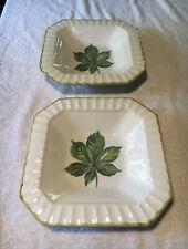 CERAMICA DUE TORRI SQUARE Bowl Green Leaf Design Italy, Set Of 2
