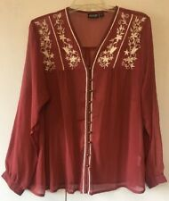 Alloy Apparel Sheer Burgundy & White Button Up Women's XL NWOT