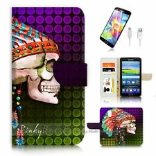 ( For Samsung S5 ) Wallet Case Cover P3582 India Skull