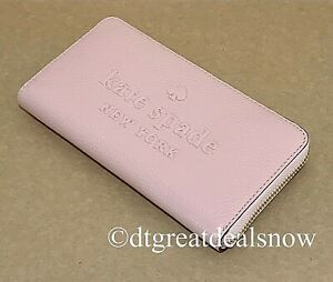NWT Kate Spade Large Continental Sienne Logo Leather Rosy Cheeks Pink Wallet