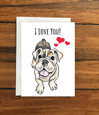 I love you dog greeting card A6