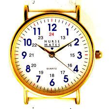 Nurse Mates 12/24 Hour Time Unworn Gold Tone Case Fossil White Treated Band $65