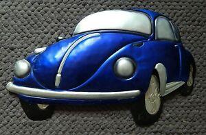 3D BLUE VW BEETLE  RETRO TIN SIGN  32.5 X 50 X4 cm  WALL ART