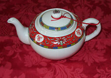 "Chinese Red And White Tea Pot With Strainer Insert ~ Small 5"" High"
