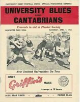 UNIVERSITY BLUES v CANTABRIANS 1962 RUGBY PROGRAMME