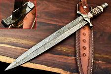 Rare!!! Custom Handmade Damascus Sword Dagger Double Edge Knife   Camel Bone