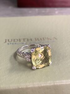 Judith Ripka Attractive 925 Sterling Silver Canary & CZ Stone Ring Size 10