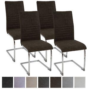 Esszimmerstühle LUGANO 4er-Set Braun, Stoff Freischwinger Schwing-Stuhl Set