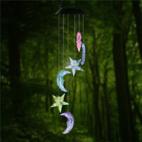 Moon-star LED Color-Changing Power Solar Wind Chimes Yard Home Garden Decor US