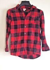 Mossimo Kids Medium Tartan Flannel Plaid Red Black Top Everyday Casual Unisex M