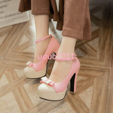 Women Block High Heel Bowknot Sweet Ankle Strap Platform Pumps Lolita Chic Shoes