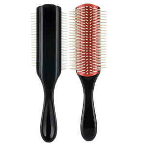 Denman Cushion Brush Bristles 9-Row Detangle Distribute ِComb Curly Hair Barber