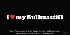 (2x) I love my Bullmastiff Die Cut Decal Sticker <3 dog canine